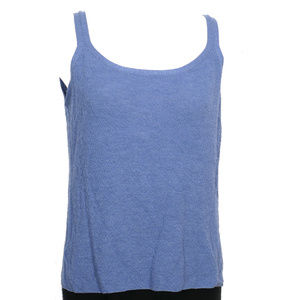 Blue Washable Wool Fine Crepe Knit Cami Top 3X